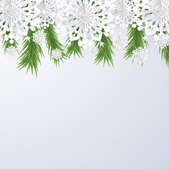 Christmas background with snowflakes and fir tree branches