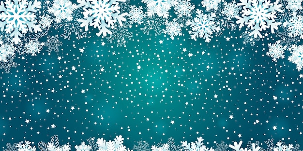 Christmas background with snowflakes frame on blue.