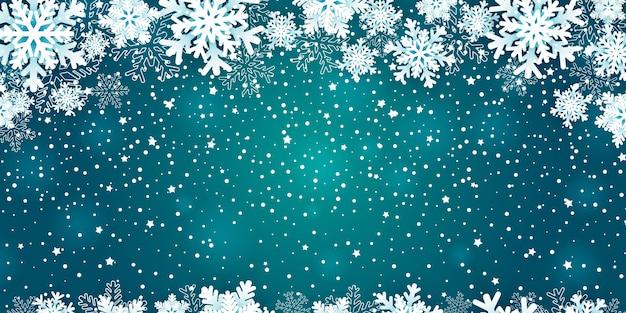 Новогодний фон с рамкой снежинки на синем.