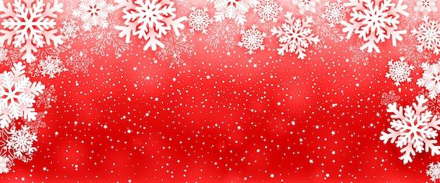 Новогодний фон с рамкой снежинки на красном.