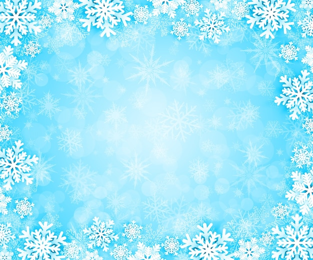 Christmas background with snowflakes frame.