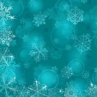 Новогодний фон со снежинками в голубых тонах