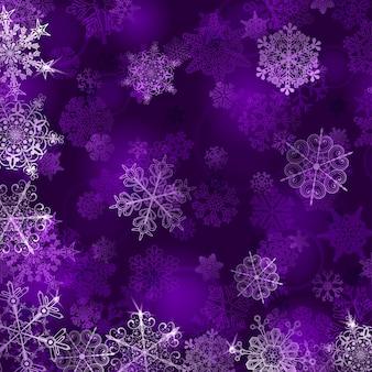 Новогодний фон со снежинками в фиолетовых тонах