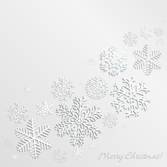 Новогодний фон со снежинками разных форм и размеров