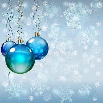 Новогодний фон со снежинками, несколькими елочными шарами и серпантинами