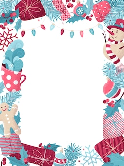 Christmas background with snowman, gingerbread man, mistletoe, gifts, cup of hot cocoa, spruce branches with baubles, pink and blue lamps.