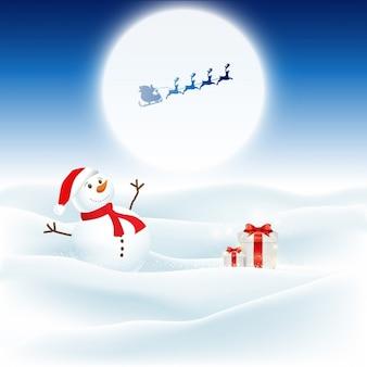Sfondo di natale con il pupazzo di neve e santa volando attraverso il cielo notturno