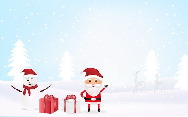 Christmas background with snowman and santa