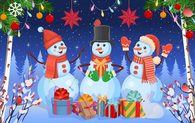 雪だるまモミの木とギフトとクリスマスの背景冬の冬の森