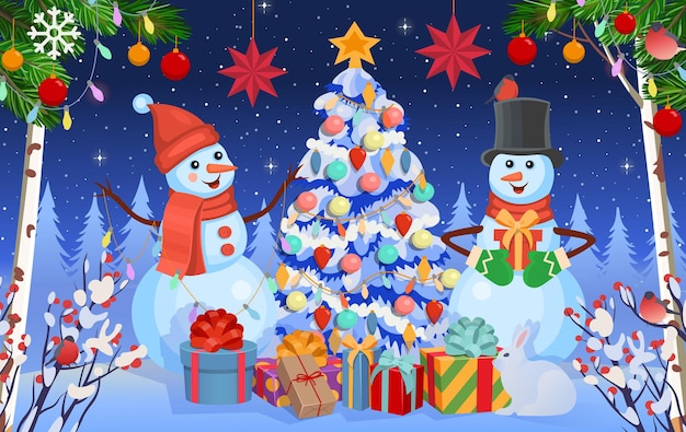 Christmas background with snowmen fir tree and giftswinter forest in winter
