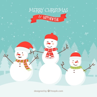 Christmas background with snowmen