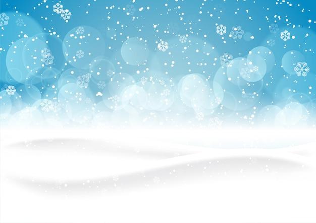 눈 덮인 풍경과 크리스마스 배경
