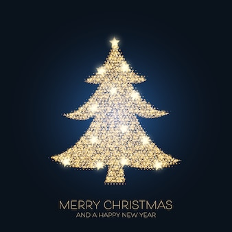 Christmas background with sparkling tree design