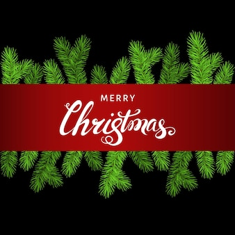 Christmas background  with spruce branch and lettering.  green fir. vector template  for xmas cards, banners, flyers, new year party posters.