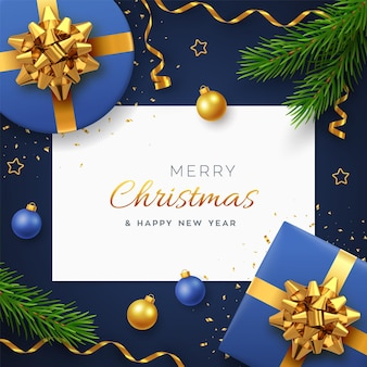 Christmas background with square paper banner, realistic blue gift boxes with golden bow, pine branches, gold stars and confetti, balls bauble. xmas background, greeting cards. vector illustration.