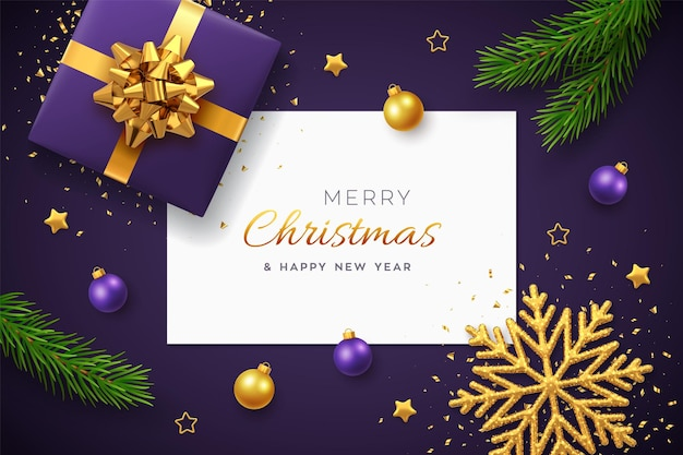 Christmas background with square paper banner, realistic gift box with golden bow, pine branches, gold stars and glitter snowflake, balls bauble. purple xmas background, greeting cards. vector.
