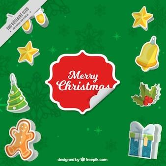 Рождественские фон с наклейками типичных элементов
