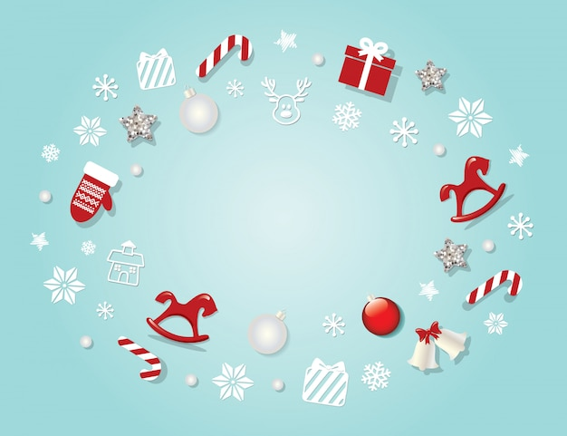 Christmas background  with traditional decorative elements.
