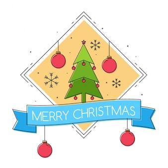 나무와 블루 리본 크리스마스 배경