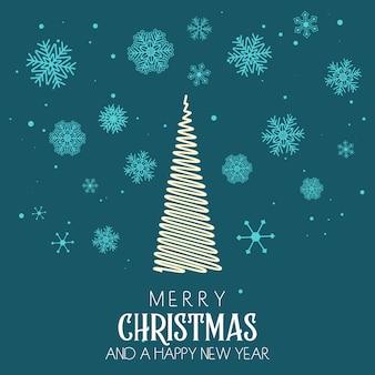 Рождественская открытка с елкой и снежинками