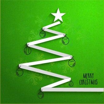 Рождественская открытка с деревом в форме ленты
