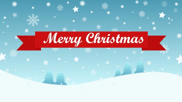 Christmas background with tree and snow fall