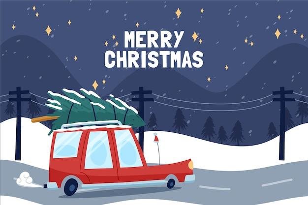 나무와 크리스마스 배경