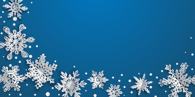 Christmas background with volume paper snowflakes with soft shadows on blue background