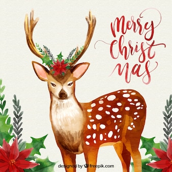 Christmas background with watercolor deer