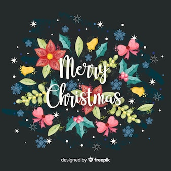 Christmas background with watercolor flowers