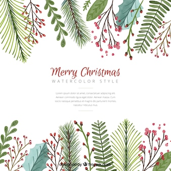 Christmas background with watercolor leaves