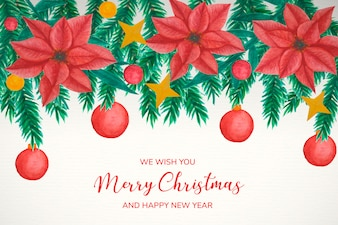 Christmas background with watercolor mistletoe decoration