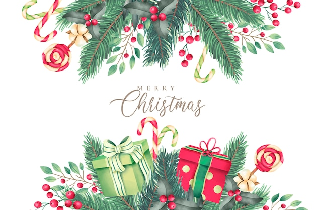 Christmas background with watercolor nature and gifts