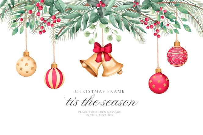 Christmas background with watercolor ornaments