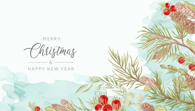 수채화 소나무 가지와 크리스마스 배경