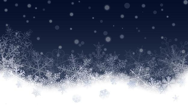 クリスマスの背景に白い雪と雪だるま。