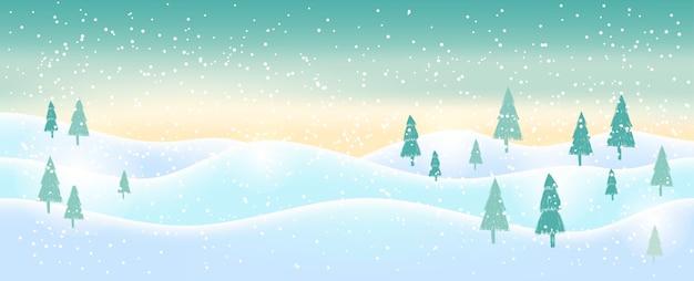 白い輝く雪とクリスマスの背景