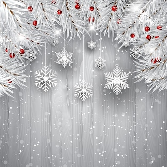 Christmas background with white wood