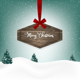 Christmas background with a wooden sign