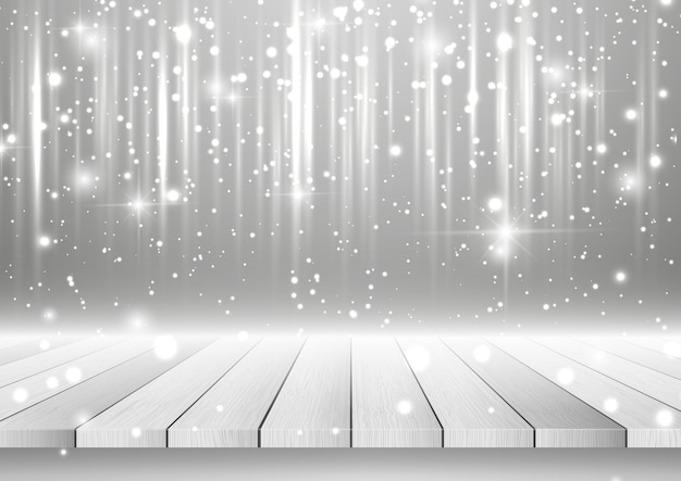 Christmas background with wooden table looking out to a silver sparkling design