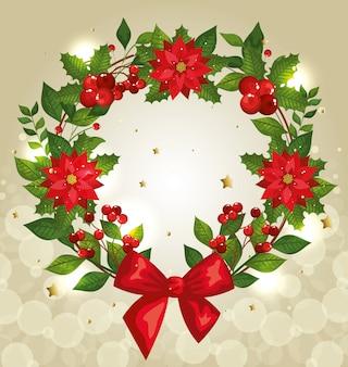 Новогодний фон с венком и украшениями