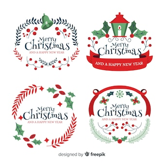 Christmas badge collection flat design style