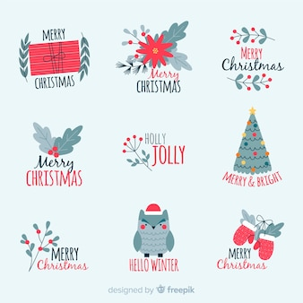 Christmas badge collection in flat design