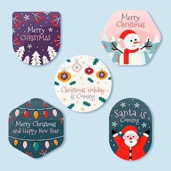 Collezione di badge natalizi in design piatto