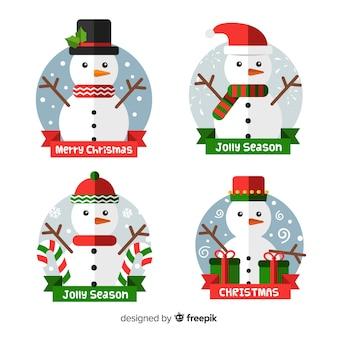 평면 디자인의 크리스마스 배지 컬렉션