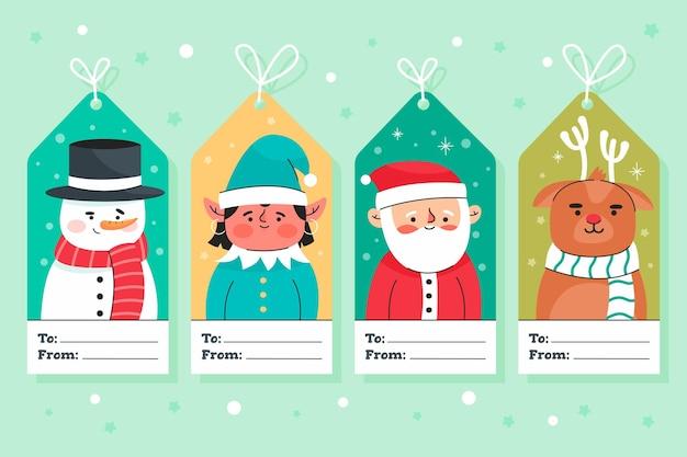 Рождественская коллекция значков в плоском дизайне