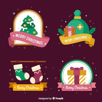 Christmas badge collection with confetti