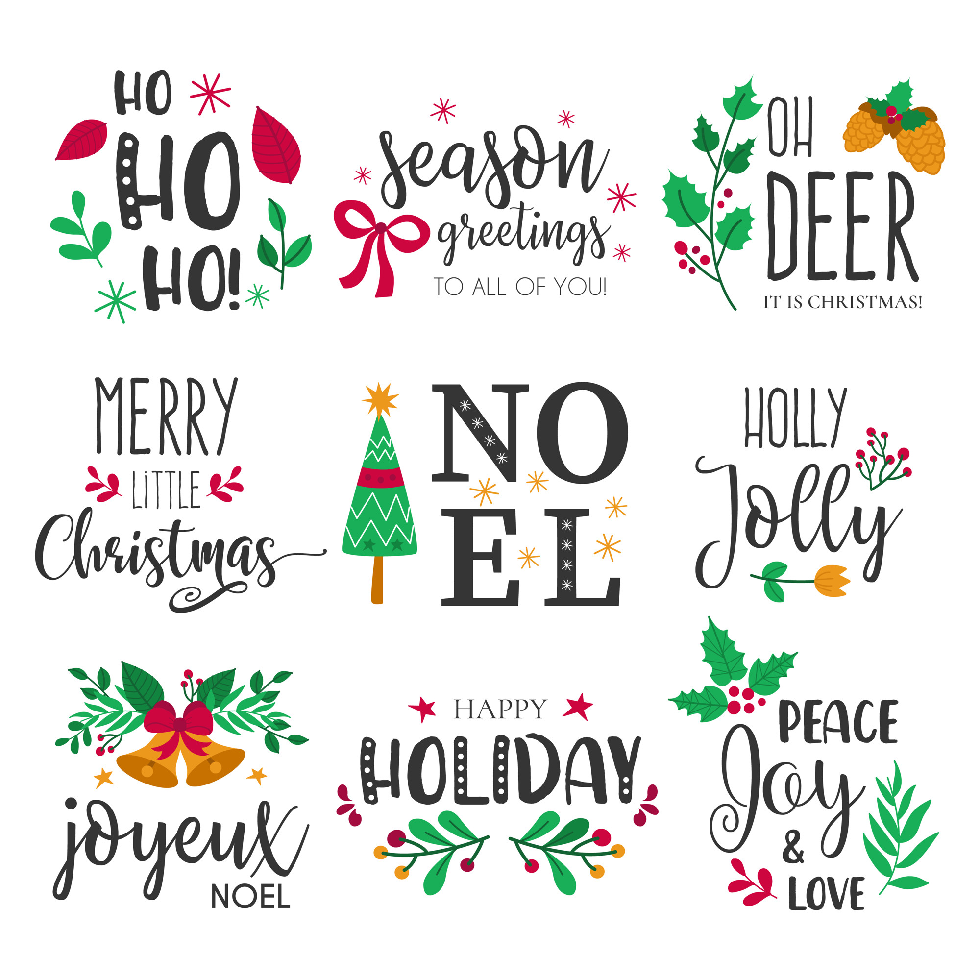 Christmas Badges with Lovely Hand Drawn Elements and Quotes