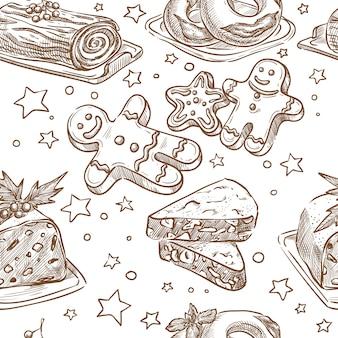 Christmas baking seamless vector sketch hand drawing