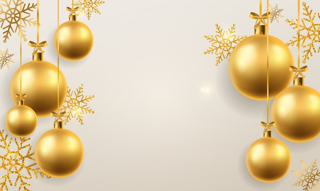 Christmas ball background. golden xmas tree toys spheres hanging, decoration. winter holidays and new year  festive abstract hanged realistic bauble backdrop